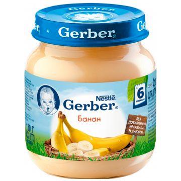 Детское пюре GerberДетское пюре Gerber банан с 6 мес. 130 г, возраст 3 ступень (6-12 мес). Проконсультируйтесь со специалистом. Для детей с 6 мес.<br><br>Возраст: 3 ступень (6-12 мес)