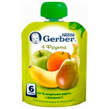 Детское пюре GerberДетское пюре Gerber 4 фрукта с 6 мес. 90 г, возраст 3 ступень (6-12 мес). Проконсультируйтесь со специалистом. Для детей с 6 мес.<br><br>Возраст: 3 ступень (6-12 мес)