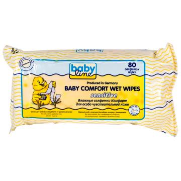 Влажные салфетки для детей BabylineВлажные салфетки для детей Babyline Комфорт Sensitive 80 шт., в упаковке 80 шт.<br><br>Штук в упаковке: 80