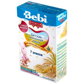 Каша BebiКаша Bebi 7 злаков молочная Премиум с 6 мес. 200 г, возраст 3 ступень (6-12 мес). Проконсультируйтесь со специалистом. Для детей c 6 мес.<br><br>Возраст: 3 ступень (6-12 мес)