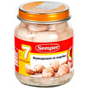 Детское пюре SemperДетское пюре Semper фрикадельки из индейки с 7 мес. 125 г, возраст 3 ступень (6-12 мес). Проконсультируйтесь со специалистом. Для детей с 7 мес.<br><br>Возраст: 3 ступень (6-12 мес)