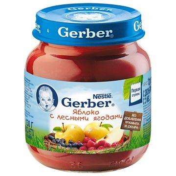 Детское пюре GerberДетское пюре Gerber яблоко с лесными ягодами 1 ступень 130 г, возраст 2 ступень (3-6 мес). Проконсультируйтесь со специалистом. Для детей с 0 месяцев<br><br>Возраст: 2 ступень (3-6 мес)
