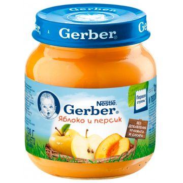 Детское пюре GerberДетское пюре Gerber яблоко и персик 1 ступень 130 г, возраст 2 ступень (3-6 мес). Проконсультируйтесь со специалистом. Для детей с 0 месяцев<br><br>Возраст: 2 ступень (3-6 мес)