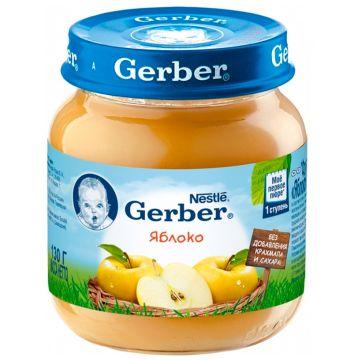 Детское пюре GerberДетское пюре Gerber яблоко 1 ступень 130 г, возраст 2 ступень (3-6 мес). Проконсультируйтесь со специалистом. Для детей с 0 месяцев<br><br>Возраст: 2 ступень (3-6 мес)
