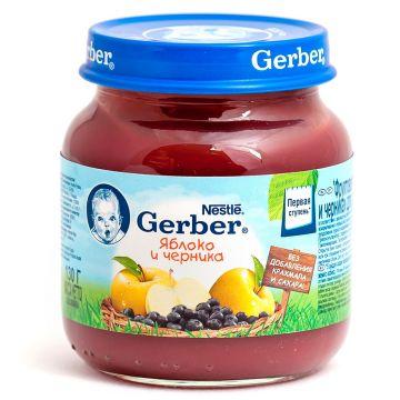Детское пюре GerberДетское пюре Gerber яблоко и черника 1 ступень 130 г, возраст 2 ступень (3-6 мес). Проконсультируйтесь со специалистом. Для детей с 0 месяцев<br><br>Возраст: 2 ступень (3-6 мес)