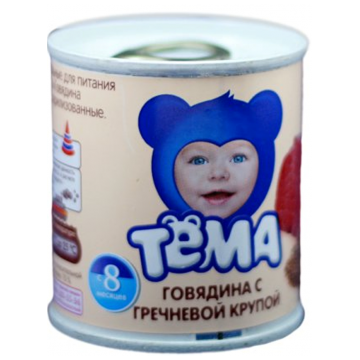 Детское пюре Тема говядина с гречневой крупой с 8 мес. 100 г