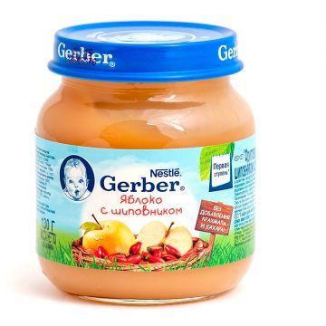 Детское пюре GerberДетское пюре Gerber яблоко с шиповником 1 ступень 130 г, возраст 2 ступень (3-6 мес). Проконсультируйтесь со специалистом. Для детей с 0 месяцев<br><br>Возраст: 2 ступень (3-6 мес)