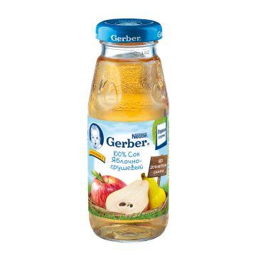 Сок GerberСок Gerber яблоко-груша восстановленый без сахара 1 ступень 175 мл, возраст 3 ступень (6-12 мес). Проконсультируйтесь со специалистом. Для детей  с 0 месяцев<br><br>Возраст: 3 ступень (6-12 мес)