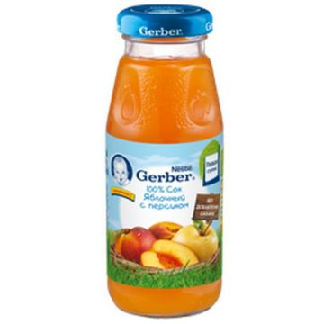 Сок GerberСок Gerber яблочный с персиком без сахара 1 ступень 175 мл, возраст 3 ступень (6-12 мес). Проконсультируйтесь со специалистом. Для детей  с 0 месяцев<br><br>Возраст: 3 ступень (6-12 мес)