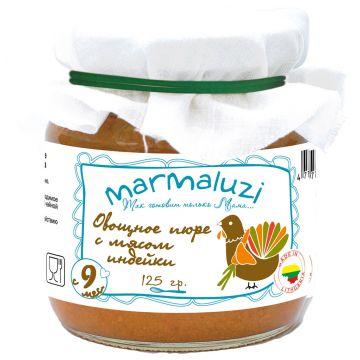 Детское пюре MarmaluziДетское пюре Marmaluzi Овощное с мясом индейки с 9 мес. 125 г, возраст 3 ступень (6-12 мес). Проконсультируйтесь со специалистом. Для детей с 9 мес.<br><br>Возраст: 3 ступень (6-12 мес)