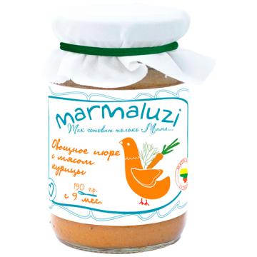 Детское пюре MarmaluziДетское пюре Marmaluzi Овощное с мясом курицы с 9 мес. 190 г, возраст 3 ступень (6-12 мес). Проконсультируйтесь со специалистом. Для детей с 9 мес.<br><br>Возраст: 3 ступень (6-12 мес)