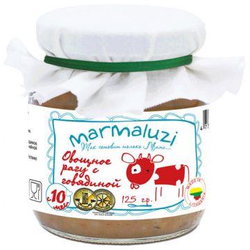 Детское пюре MarmaluziДетское пюре Marmaluzi Овощное рагу с говядиной с 10 мес. 125 г, возраст 3 ступень (6-12 мес). Проконсультируйтесь со специалистом. Для детей с 10 мес.<br><br>Возраст: 3 ступень (6-12 мес)