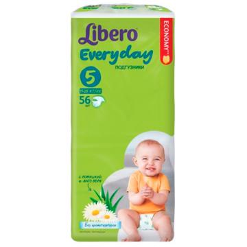 Подгузники LiberoПодгузники Libero Every Day размер ХL (11-25 кг) с ромашкой 56 шт, в упаковке 56 шт., размер XL (BIG)<br><br>Штук в упаковке: 56<br>Размер: XL (BIG)