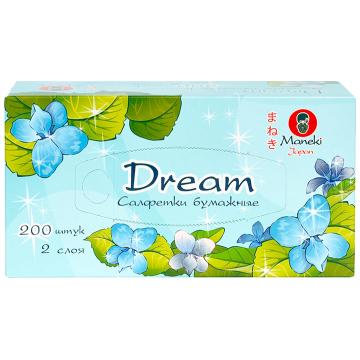 Салфетки ManekiСалфетки Maneki бумажные серия Dream 2 слоя белые 200 шт. в упаковке<br>