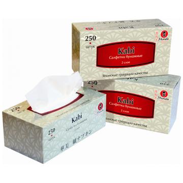 Салфетки ManekiСалфетки Maneki бумажные серия Kabi 2 слоя белые 250 шт. в упаковке<br>