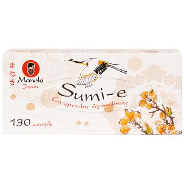 Салфетки ManekiСалфетки Maneki бумажные серия Sumi-e 2 слоя белые 130 шт. в упаковке<br>