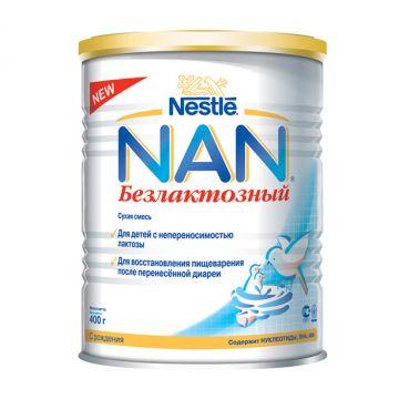 Сухая молочная смесь NanСухая молочная смесь Nan Безлактозный с 0 мес. 400 гр, возраст 1 ступень (0-3 мес). Проконсультируйтесь со специалистом. Для детей с 0 мес.<br><br>Возраст: 1 ступень (0-3 мес)