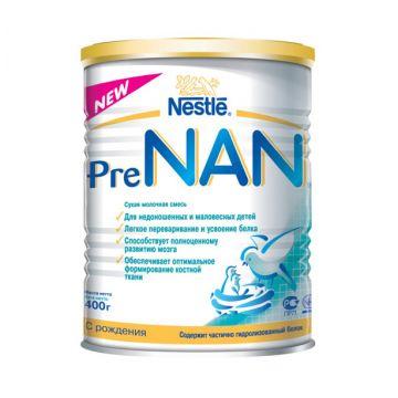 Сухая молочная смесь NanСухая молочная смесь Nan Pre для недоношенных и маловесных детей с 0 мес. 400 гр, возраст 1 ступень (0-3 мес). Проконсультируйтесь со специалистом. Для детей с 0 мес.<br><br>Возраст: 1 ступень (0-3 мес)