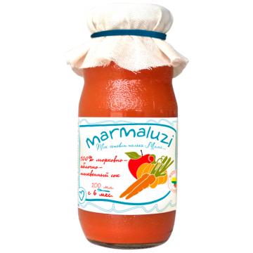 Сок MarmaluziСок Marmaluzi морковно-яблочно-тыквенный с 6 мес. 200 мл., возраст 3 ступень (6-12 мес). Проконсультируйтесь со специалистом. Для детей 200 мл<br><br>Возраст: 3 ступень (6-12 мес)