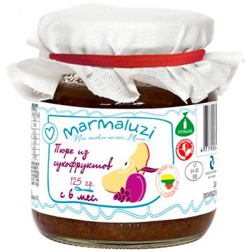 Детское пюре MarmaluziДетское пюре Marmaluzi из сухофруктов с 6 мес. 125 г, возраст 3 ступень (6-12 мес). Проконсультируйтесь со специалистом. Для детей с 6 мес.<br><br>Возраст: 3 ступень (6-12 мес)