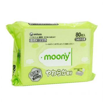 Влажные мягкие салфетки для детей MoonyВлажные мягкие салфетки для детей Moony запасной блок 80 шт, в упаковке 80 шт.<br><br>Штук в упаковке: 80