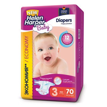 Подгузники Helen HarperПодгузники Helen Harper Baby размер 3 Midi (4-9 кг) 70 шт, в упаковке 70 шт., размер S<br><br>Штук в упаковке: 70<br>Размер: S