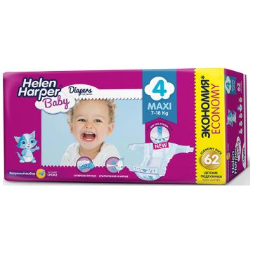Подгузники Helen HarperПодгузники Helen Harper Baby размер 4 Maxi (7-18 кг) 62 шт, в упаковке 62 шт., размер L<br><br>Штук в упаковке: 62<br>Размер: L