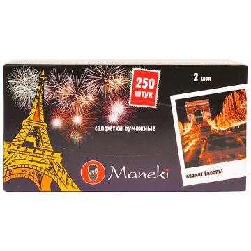 Салфетки ManekiСалфетки Maneki бумажные серия Dream с ароматом Европы 2 слоя белые 250 шт. в упаковке<br>