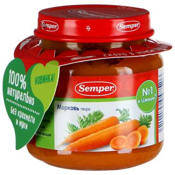 Детское пюре SemperДетское пюре Semper морковь  с 4 мес. 125 г, возраст 2 ступень (3-6 мес). Проконсультируйтесь со специалистом. Для детей с 4 мес.<br><br>Возраст: 2 ступень (3-6 мес)