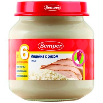 Детское пюре SemperДетское пюре Semper индейка с рисом с 7 мес. 125 г, возраст 3 ступень (6-12 мес). Проконсультируйтесь со специалистом. Для детей с 7 мес.<br><br>Возраст: 3 ступень (6-12 мес)