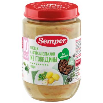 Детское пюре SemperДетское пюре Semper овощи с фрикадельками из говядины с 10 мес. 190 г, возраст 3 ступень (6-12 мес). Проконсультируйтесь со специалистом. Для детей с 10 мес.<br><br>Возраст: 3 ступень (6-12 мес)