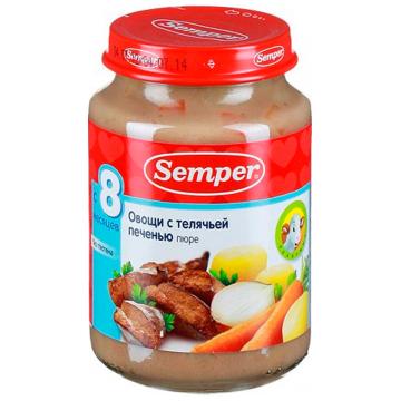 Детское пюре SemperДетское пюре Semper овощи с телячьей печенью с 8 мес. 190 г, возраст 3 ступень (6-12 мес). Проконсультируйтесь со специалистом. Для детей с 8 мес.<br><br>Возраст: 3 ступень (6-12 мес)