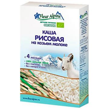 Каша Fleur AlpineКаша Fleur Alpine рисовая на козьем молоке Organic с 4 мес. 200 г, возраст 2 ступень (3-6 мес). Проконсультируйтесь со специалистом. Для детей с 4 мес.<br><br>Возраст: 2 ступень (3-6 мес)