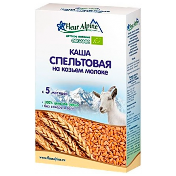 Каша Fleur AlpineКаша Fleur Alpine пшеничная (спельтовая) на козьем молоке Organic с 5 мес. 200 г, возраст 2 ступень (3-6 мес). Проконсультируйтесь со специалистом. Для детей с 5 мес.<br><br>Возраст: 2 ступень (3-6 мес)