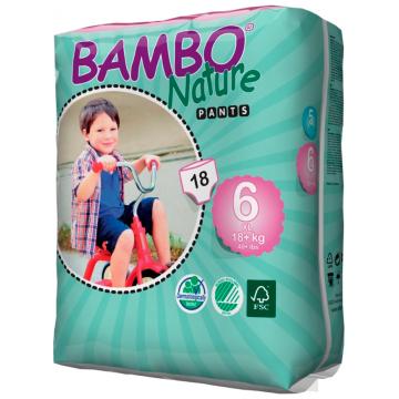 Трусики BamboТрусики Bambo Nature размер 6 (18+ кг) 18 шт, в упаковке 18 шт., размер XXL<br><br>Штук в упаковке: 18<br>Размер: XXL