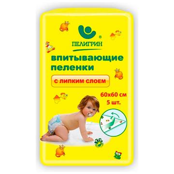 Пеленки впитывающие детские ПелигринПеленки впитывающие детские Пелигрин с липким фиксирующим слоем 60х60 5 шт, в упаковке 5 шт.<br><br>Штук в упаковке: 5