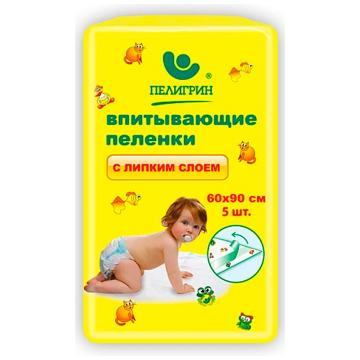 Пеленки впитывающие детские ПелигринПеленки впитывающие детские Пелигрин с липким фиксирующим слоем 60х90 см 5 шт, в упаковке 5 шт.<br><br>Штук в упаковке: 5