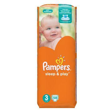 Подгузники PampersПодгузники Pampers Sleep  and  Play Midi (5-9 кг) Эконом упаковка 58 шт, в упаковке 58 шт., размер M<br><br>Штук в упаковке: 58<br>Размер: M