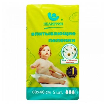 Пеленки впитывающие детские ПелигринПеленки впитывающие детские Пелигрин Ромашка 40х60 см 5шт, в упаковке 5 шт.<br><br>Штук в упаковке: 5