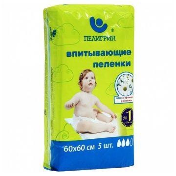 Пеленки впитывающие детские ПелигринПеленки впитывающие детские Пелигрин Ромашка 60х60 5шт, в упаковке 5 шт.<br><br>Штук в упаковке: 5