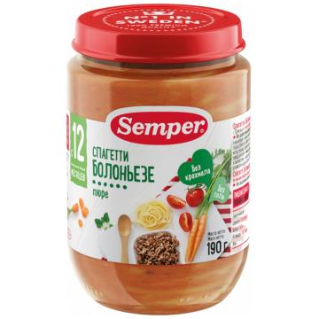 Детское пюре SemperДетское пюре Semper Спагетти болоньезе с 10 мес. 190 г, возраст 3 ступень (6-12 мес). Проконсультируйтесь со специалистом. Для детей с 10 мес.<br><br>Возраст: 3 ступень (6-12 мес)