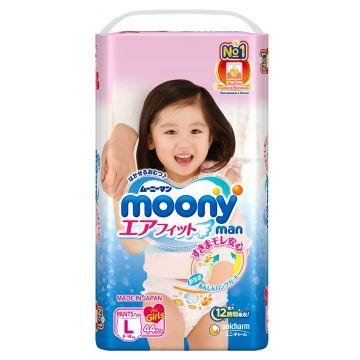 Трусики для девочек MoonyТрусики для девочек Moony L (9-14 кг) 44 шт, в упаковке 44 шт., размер L<br><br>Штук в упаковке: 44<br>Размер: L