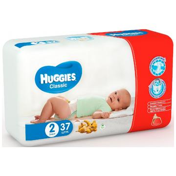 Подгузники HuggiesПодгузники Huggies Classic 2 (3-6 кг) 37 шт, в упаковке 37 шт., размер NB<br><br>Штук в упаковке: 37<br>Размер: NB
