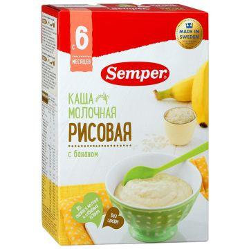 Каша SemperКаша Semper рисовая с бананом молочная с 6 мес. 200 г, возраст 3 ступень (6-12 мес). Проконсультируйтесь со специалистом. Для детей с 6 мес.<br><br>Возраст: 3 ступень (6-12 мес)