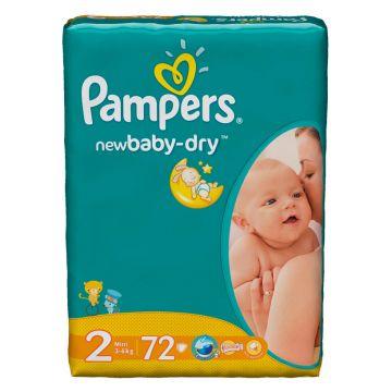 Подгузники PampersПодгузники Pampers New Baby Mini (3-6 кг) экономичная упаковка 72 шт, в упаковке 72 шт., размер S<br><br>Штук в упаковке: 72<br>Размер: S