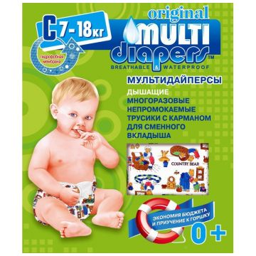 Трусики Multi-DiapersТрусики Multi-Diapers многоразовые размер L (7-18 кг) арт. 1C, размер L<br><br>Размер: L