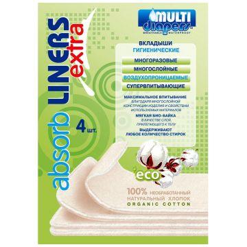 Вкладыши для многоразового подгузника Multi-DiapersВкладыши для многоразового подгузника Multi-Diapers EXTRA (4 шт) арт. 3, в упаковке 4 шт.<br><br>Штук в упаковке: 4