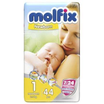 Подгузники MolfixПодгузники Molfix Newborn (2-5 кг) 44 шт, в упаковке 44 шт., размер NB<br><br>Штук в упаковке: 44<br>Размер: NB