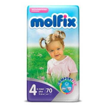 Подгузники MolfixПодгузники Molfix Maxi Plus (9-16 кг) 70 шт, в упаковке 70 шт., размер XL (BIG)<br><br>Штук в упаковке: 70<br>Размер: XL (BIG)
