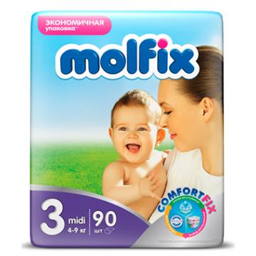 Подгузники MolfixПодгузники Molfix Midi (4-9 кг) 90 шт, в упаковке 90 шт., размер M<br><br>Штук в упаковке: 90<br>Размер: M